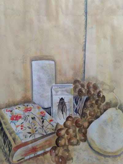 A painting of still life, still life photography, lighting, table, painting