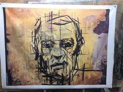 A painting of art, wall, painting, modern art, visual arts, street art, illustration, texture