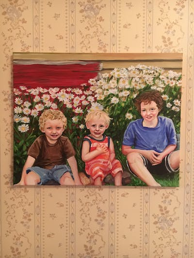 A painting of people, plant, flower, sitting, child, fun, grass, smile, spring, garden