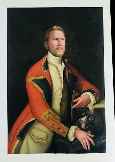 A painting of portrait, lady, painting, gentleman, art, modern art, self portrait