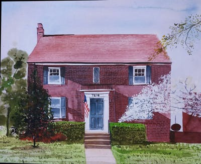 A painting of house, home, wall, window, facade, wood, door, siding, shed
