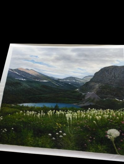 A painting of nature, mount scenery, wilderness, mountain, nature reserve, highland, vegetation, tarn, glacial lake, lake