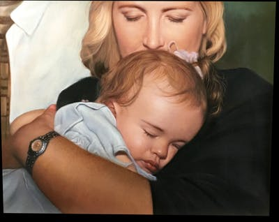 A painting of human hair color, nose, girl, cheek, chin, blond, forehead, child, mouth, mother