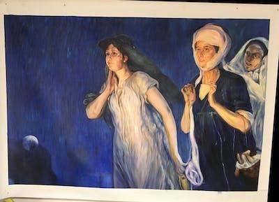 A painting of painting, art, modern art, phenomenon, mythology, human, portrait, visual arts, artwork, watercolor paint