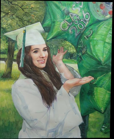 A painting of green, academic dress, graduation, headgear, event, grass, mortarboard, smile, girl, plant