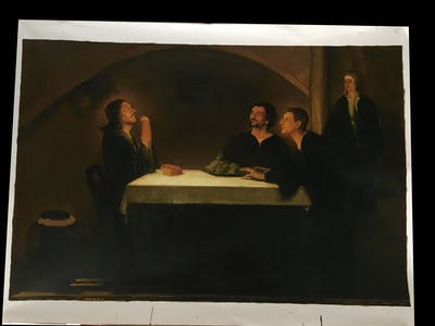 A painting of painting, art, still life, artwork, modern art, portrait, darkness