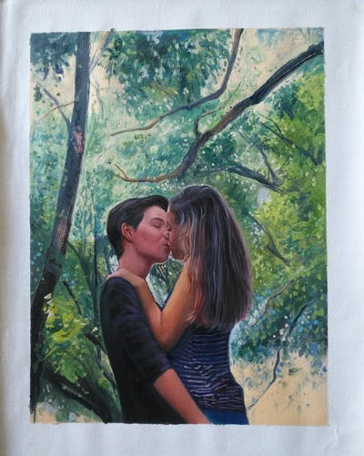 A painting of tree, nature, photograph, green, woody plant, beauty, girl, plant, emotion, lady