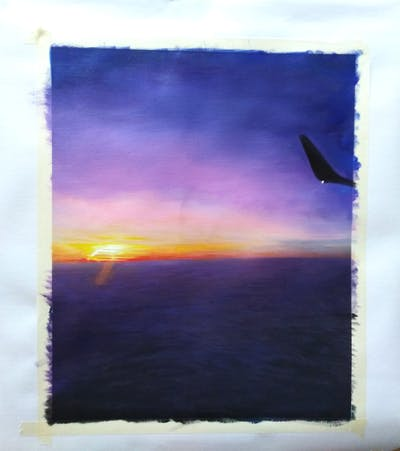 A painting of sky, horizon, atmosphere, sea, sunrise, air travel, calm, flight, daytime, atmosphere of earth