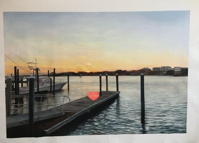 A painting of sky, water, dock, sea, sunset, marina, evening, horizon, sunrise, river