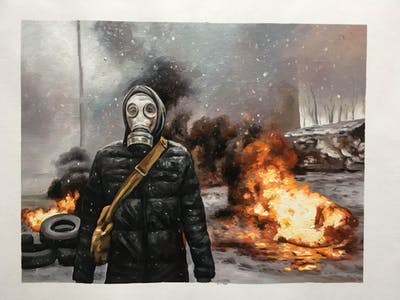 A painting of militia, riot, soldier, mercenary, personal protective equipment, smoke, pc game, explosion, war