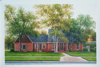 A painting of home, house, property, real estate, cottage, estate, tree, residential area, farmhouse, yard