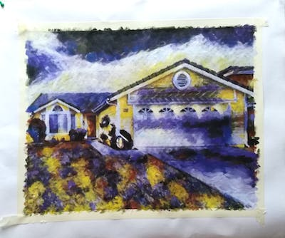 A painting of home, property, house, real estate, residential area, siding, estate, yard, landscape, garage door