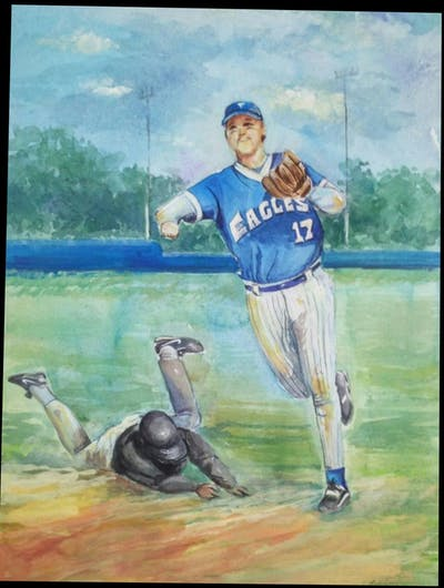 A painting of photograph, standing, baseball positions, sand, dust, art, vintage base ball, vintage clothing