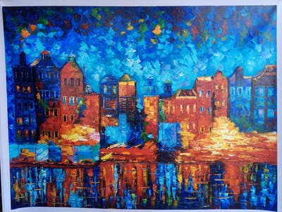 A painting of reflection, waterway, cityscape, city, landmark, town, sky, water, urban area, canal