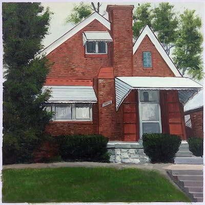 A painting of property, house, snow, home, winter, architecture, tree, building, window, facade