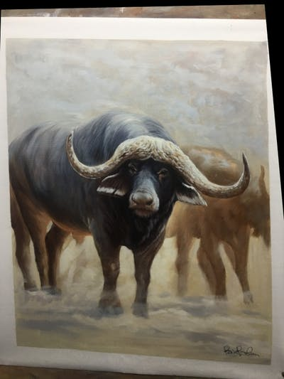 A painting of water buffalo, cattle like mammal, terrestrial animal, wildebeest, wildlife, horn, bull, ox, cow goat family, working animal