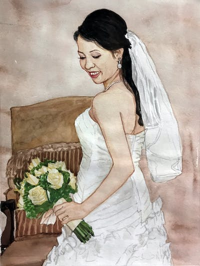 A painting of bride, gown, hair, veil, wedding dress, bridal veil, bridal clothing, woman, bridal accessory, marriage