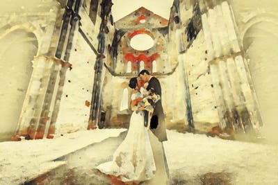 A painting of art, bride, painting, gown, wedding, girl, watercolor paint, paint