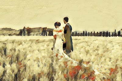 A painting of grass family, interaction, painting, art, romance, watercolor paint, love, ecoregion, commodity, wedding