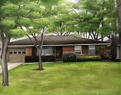A painting of house, property, home, roof, cottage, real estate, residential area, tree, plant, yard
