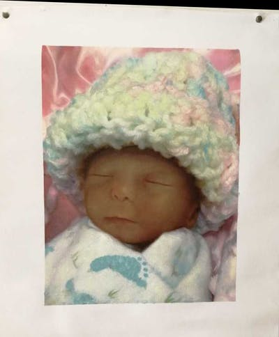 A painting of infant, skin, child, head, cheek, close up, headgear, toddler, doll, product