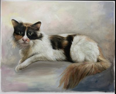 A painting of cat, furniture, small to medium sized cats, couch, room, cat like mammal, bed, chair, whiskers, flooring