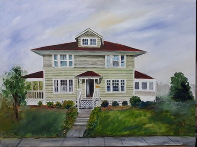 A painting of house, residential area, sky, home, property, tree, suburb, plant, town, neighbourhood