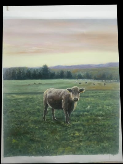 A painting of cattle like mammal, grassland, sky, highland, pasture, field, grazing, grass, prairie, rural area