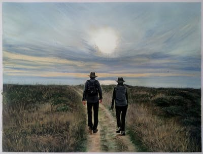 A painting of sky, ecosystem, wilderness, cloud, path, hill, ecoregion, horizon, grassland, morning