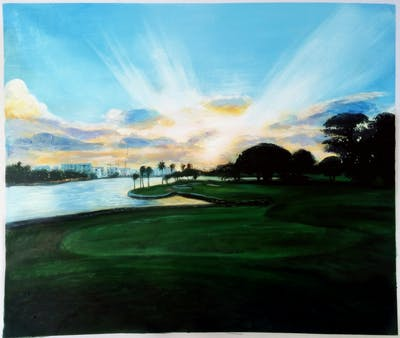 A painting of sky, water, cloud, morning, golf course, reflection, evening, lake, horizon, dawn