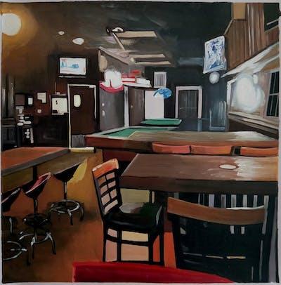 A painting of restaurant, bar, table, pub, tavern, interior design, recreation room, café