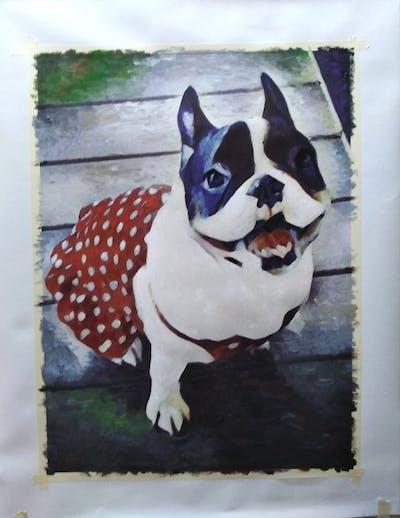 A painting of dog, dog like mammal, dog breed, french bulldog, boston terrier, snout, dog breed group, bulldog, carnivoran, toy bulldog