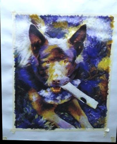 A painting of dog, dog breed, dog like mammal, dog breed group, grass, snout, australian kelpie, hunting dog, carnivoran, sporting group