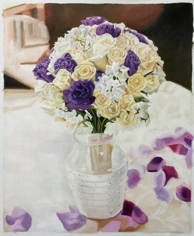 A painting of flower arranging, flower, purple, centrepiece, flower bouquet, floristry, lilac, tableware, violet, floral design