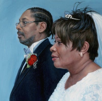 A painting of bride, wedding, event, ceremony, fashion accessory, marriage, groom, tradition, bridal clothing, veil