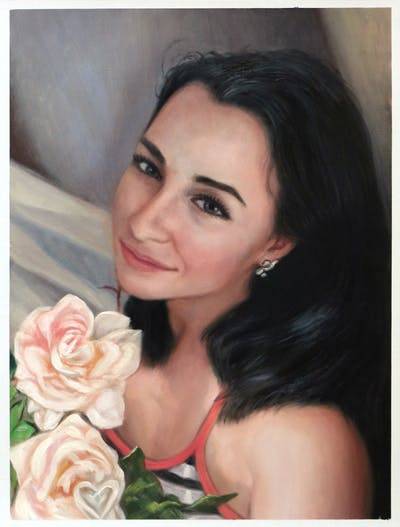 A painting of flower, skin, rose family, human hair color, nose, beauty, eyebrow, lady, cheek, girl