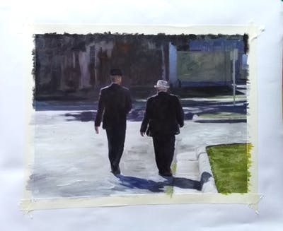 A painting of photograph, man, infrastructure, pedestrian, public space, male, road, walking, tree, phenomenon