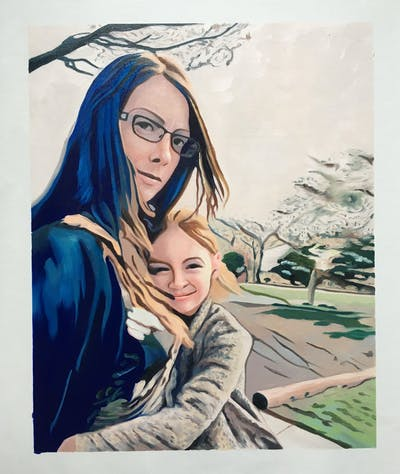 A painting of hair, beauty, human hair color, eyewear, girl, glasses, vision care, sunglasses, hairstyle, photography