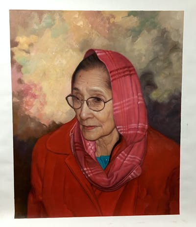 A painting of senior citizen, glasses, vision care