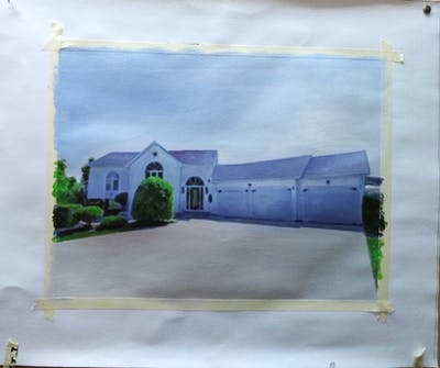 A painting of home, property, house, estate, real estate, residential area, roof, facade, window, land lot