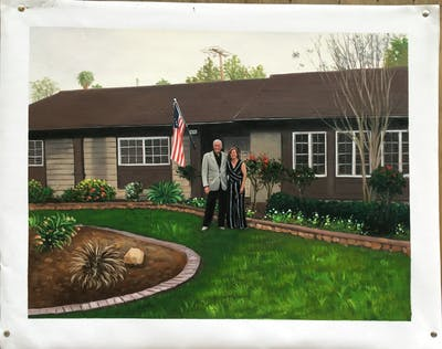 A painting of house, home, property, plant, yard, lawn, garden, grass, backyard, cottage