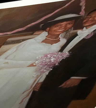 A painting of wedding dress, gown, bridal clothing, photograph, bride, dress, marriage, fashion accessory, veil, wedding