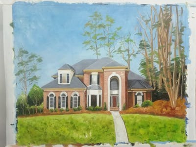A painting of home, property, house, estate, real estate, mansion, residential area, cottage, farmhouse, facade