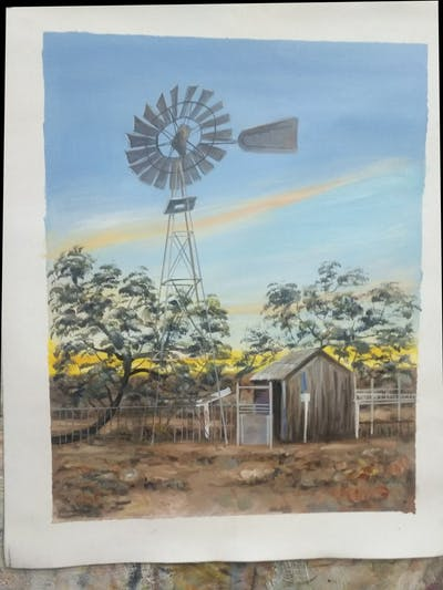 A painting of windmill, sky, cloud, landmark, mill, dawn, tourist attraction, wind, energy, tree