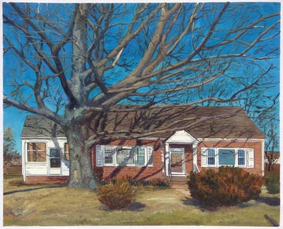 A painting of home, property, house, cottage, tree, real estate, farmhouse, residential area, plant, roof