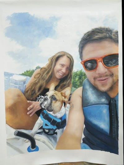 A painting of sunglasses, mammal, dog, vertebrate, vacation, eyewear, fun, glasses, beach, summer