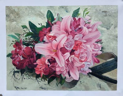 A painting of flower, pink, flower arranging, plant, floristry, flower bouquet, flora, floral design, flowering plant, cut flowers
