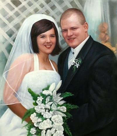 A painting of bride, flower, woman, flower bouquet, flower arranging, gown, marriage, wedding, wedding dress, veil