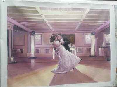 A painting of photograph, ceremony, dress, pink, purple, function hall, wedding reception, bride, wedding, event