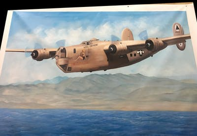 A painting of airplane, aircraft, aviation, propeller driven aircraft, black and white, vehicle, bomber, consolidated b 24 liberator, propeller, military aircraft